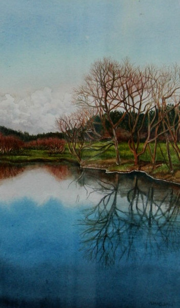 """The Lake""<br /> watercolour<br /> (image slightly distorted-photo taken through glass)<br /> <br /> <br /> SOLD"