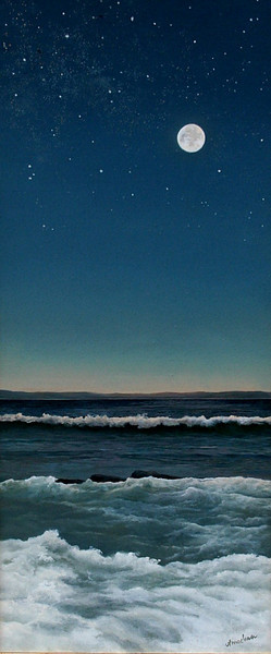 MOON AND SEA IV<br /> 19.5 X 8.5<br /> oil on board<br /> <br /> <br /> ON DISPLAY AT A MATTER OF TASTES<br /> SOLD