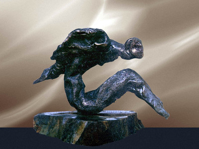"""Angel"" Bronze and stone. 18cm x 22cm x 8cm. author's collection. Tashkent, Uzbekistan 1989."