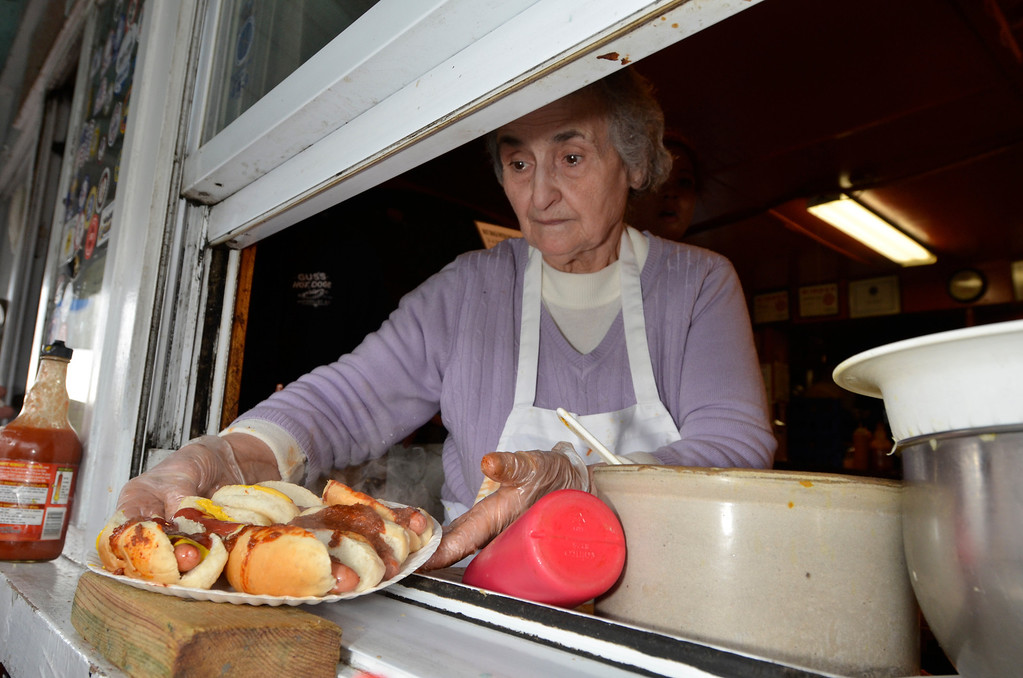 . J.S.CARRAS/THE RECORD Gus\'s Hot Dogs celebrates 60 years in business Tuesday, April 8, 2014 on 25th Street in Watervliet, N.Y..