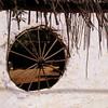 Wagon wheel in the wall