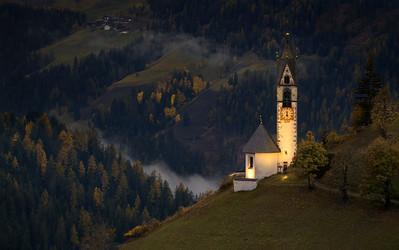 Dolomite Chapel At Eventide