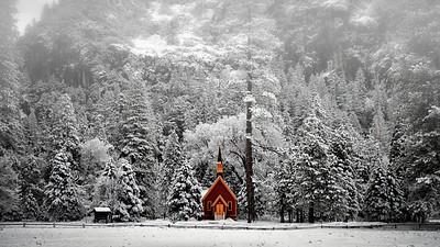 Yosemite Chapel On A Winter's Morning