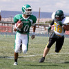 Los Alamos at Pojaoque Valley on Saturday, August 27, 2011. End of the third quarter Pojoaque was up 52-22.<br /> Photos by Jane Phillips/The New Mexican
