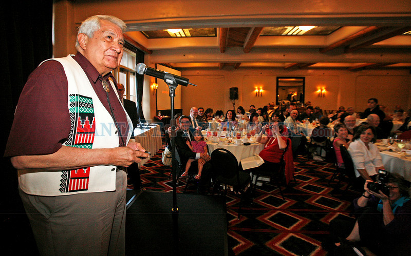 Dave Warren, 2010 Povi'ka Award winner, addresses the crowd after receiving his award at SWAIA's annual Honoring Reception at the Loretto Inn on Jun. 10, 2010. The reception is a celebration of Native artists whose works have inspired and mentored generations of artists, and individuals and organizations that support and advance the understanding of Native arts and culture.                Luis Sanchez Saturno/ The New Mexican.
