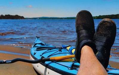 Kicking Back. Taking a paddling break on the Ottawa River. Self portrait