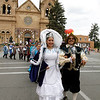 La Reina de la Fiesta de Santa Fe, Samantha Antonia Tapia y Olguin and Don Diego, Andy Lee Lopez y Sandoval lead the way to the start of Fiesta on Friday, September 9, 2011.<br /> Photos by Jane phillips/the New Mexican