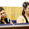 Pedro Maldonado's mother, Lorena, left, and his sister Nallely, 16, cry as they listen to Jonathan Villesange's, 17, guilty plea in front of district court judge Michael Vigil on Sep. 1, 2010. Villesange was charged as an adult with the shooting death of Dedro Maldonado, 18, on June 28, 2009.             Luis Sanchez Saturno/ The New Mexican.