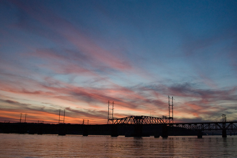 The B&O railroad bridge over the Susquehanna River at sunset