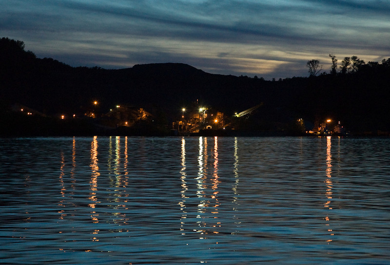 Arundel Quarry lights up the Susquehanna River at night