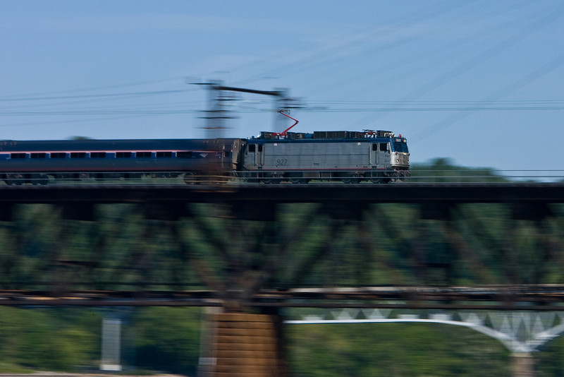 A northbound Amtrak train speeds across the Susquehanna River in Havre de Grace, MD