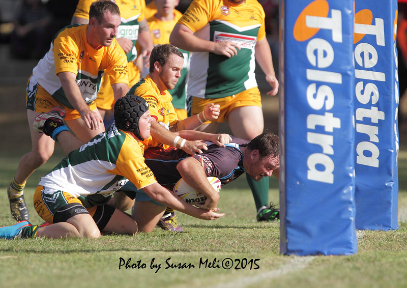 Veteran James Blair scrambles for the try?