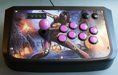 "Custom-modded HRAP3 /w Sanwa OBSF-30 Buttons.  Mileena MK9: ""Let us dance!"""