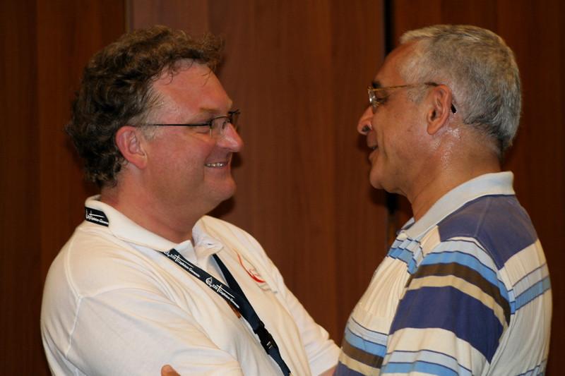 Fr. Olaf Hamelijnk congratulates Fr. Ornelas on his re-election as superior general.