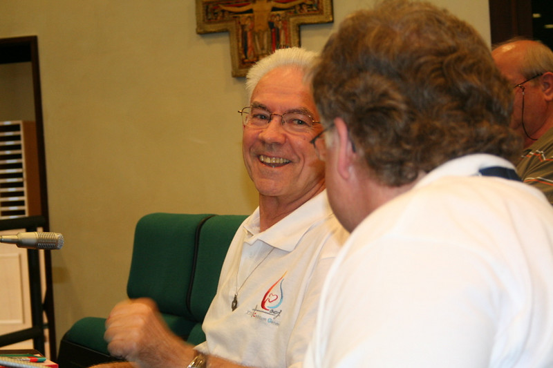 Fr. Claudio Weber receives congratulations on his election from Fr. Olaf.