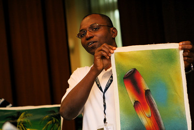 Fr. Richard Nsimba Ntontelo shares gifts from the Congo with the new administration