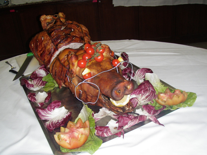The delegates were treated to a near-sighted pig.