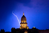 Lightning strikes near the Illinois state capitol building