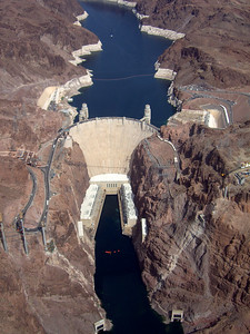 Drought. Hoover Dam from above.