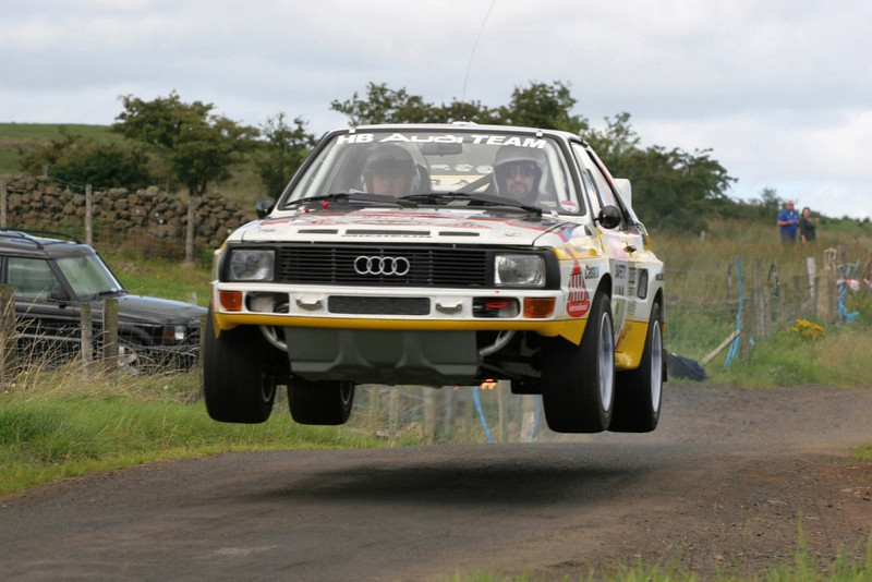 Me behind the wheel of Michèle Mouton's Audi Sport Quattro running a practice lap at the West Sussex Rally Course in 2006!!  That's Michèle in the navigator's seat wondering how big of a mistake she has made :-)