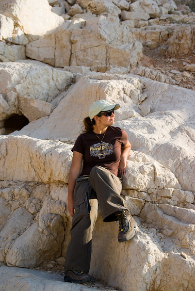 Bianca, taking a breather, before climbing down the mountain.