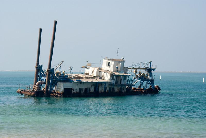 A shipwreck just off the coast.