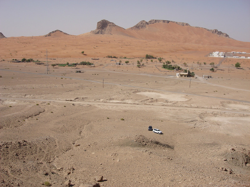 View from the top of the Maliha mountain. You can see our two cars down there in the distance!