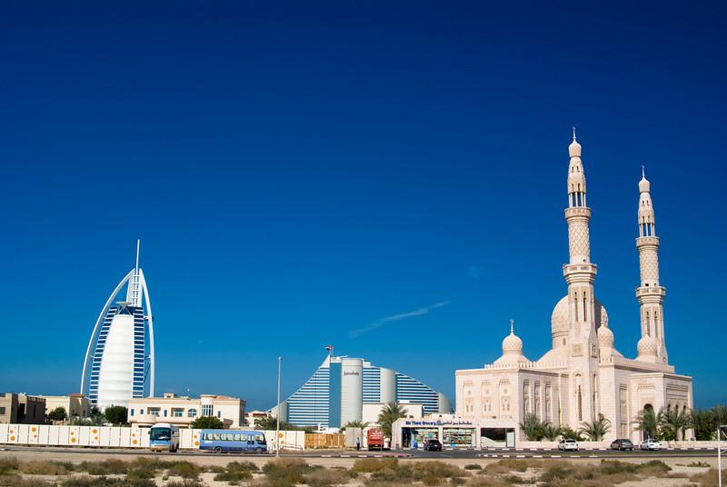 The Burj Al Arab, Jumeirah Beach Hotel and a mosque.