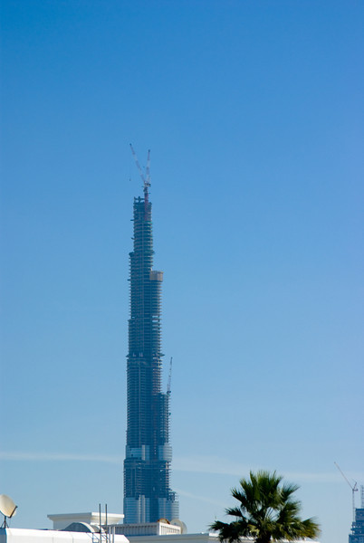 The Burj Dubai - Worlds Tallest Building. Currently, the worlds tallest building, and almost the worlds tallest man-made structure (almost there). Still under construction and adding a storey every week.