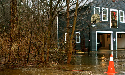 Over Flowing brook beside the Barnard's home on Elm Street.