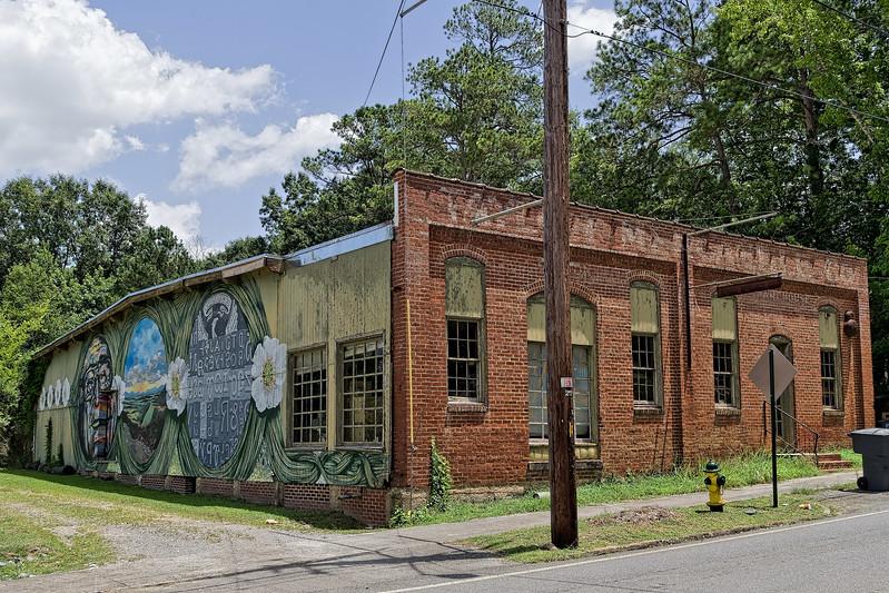 Erik Burke Mural on Old Brick building across the tracks from Summerville Depot