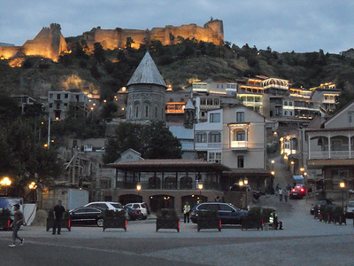 Tbilisi at dusk gets very tastefully lit up.