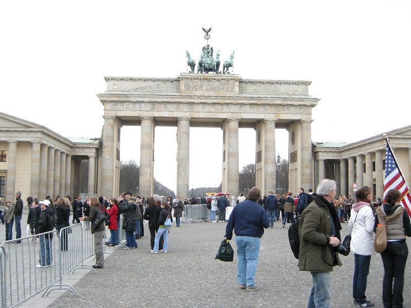 in formerly East Berlin looking back at Brandenberg Gate