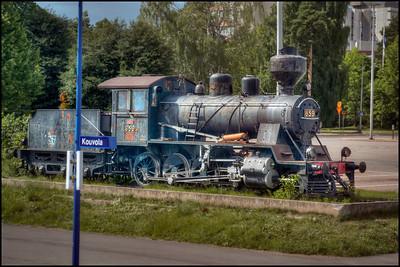 Old train at Kouvola, Finland station.