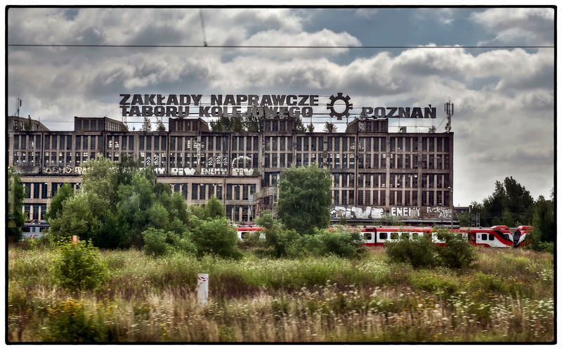 The Rolling Stock Repair Works in Poznan, Poland, from the train.