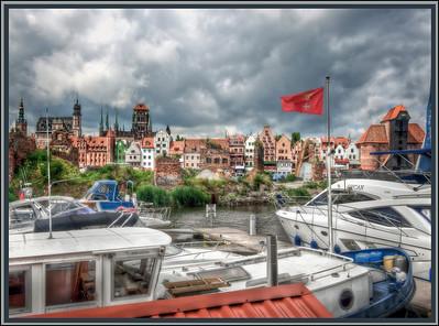 Gdansk, Poland, on the Motlawa River.