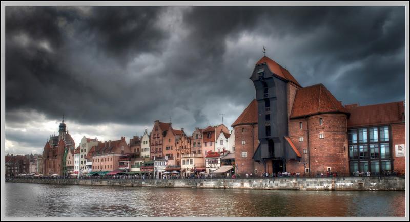 Storm warning, Gdansk, Poland.