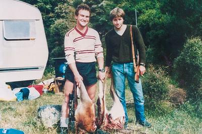1981 Gerry Prendevillel and Kevin hunting at Palliser Bay NET