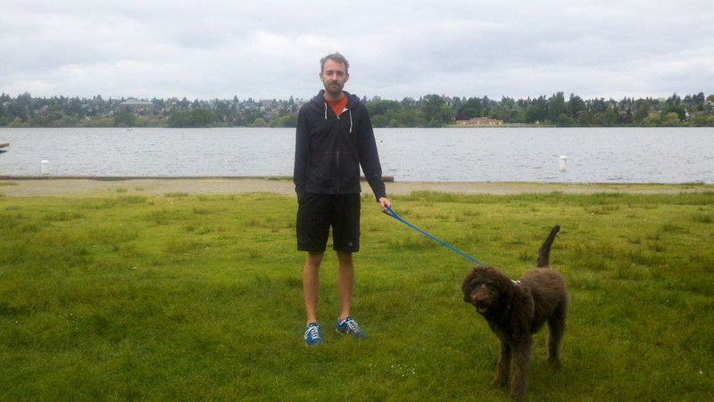 Jogging around green lake