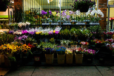 Colorful flower market at night in downtown Vancouver, British Columbia, Canada