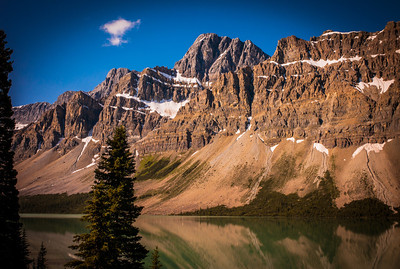 Bow Lake and snow capped peaks, Alberta, Canada
