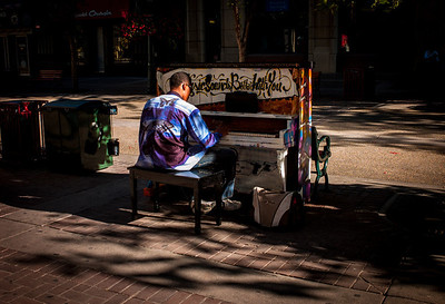 Unexpected piano player in downtown Calgary, Alberta, Canada