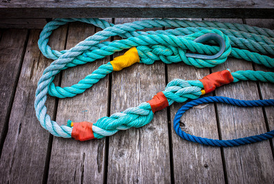 Blue cables on deck of float house in Tofino, Vancouver Island, British Columbia, Canada