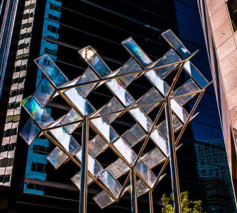 Glass and chrome sculpture in downtown Calgary, Alberta, Canada