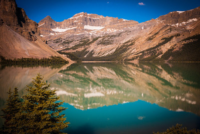 Turquoise water of Bow Lake and snow capped peaks, Alberta, Canada