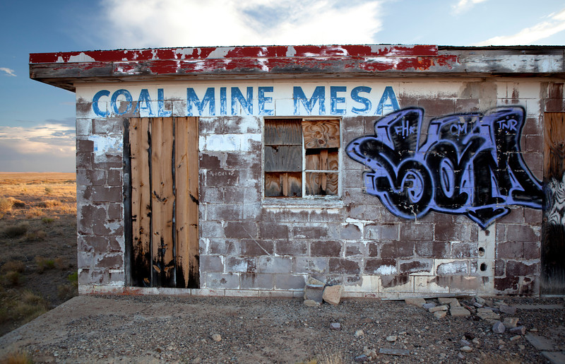 Coal Mine Mesa - Abandoned gas station.<br /> <br /> Coal Mine Mesa Arizona was a Navajo town that abandoned in the 1980's. It was abandoned due to that it was part of a reallocation of lands agreement between the Navajos and the Hopi in the 1970's.