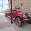 One fire engine outside the historic fire department building.