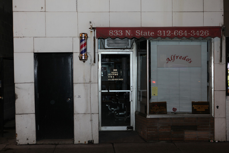 Alfredo's barber shop on State Street.