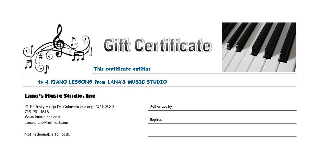 "Four Piano Lessons Gift Certificate  $100.00   <form action=""https://www.paypal.com/cgi-bin/webscr"" method=""post"" target=""_top""> <input type=""hidden"" name=""cmd"" value=""_s-xclick""> <input type=""hidden"" name=""hosted_button_id"" value=""NZFRFF3XYHW8N""> <input type=""image"" src=""https://www.paypalobjects.com/en_US/i/btn/btn_buynowCC_LG.gif"" border=""0"" name=""submit"" alt=""PayPal - The safer, easier way to pay online!""> <img alt="""" border=""0"" src=""https://www.paypalobjects.com/en_US/i/scr/pixel.gif"" width=""1"" height=""1""> </form>"