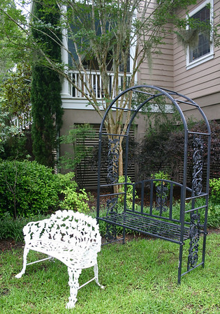Outdoor trellis and HEAVY iron bench